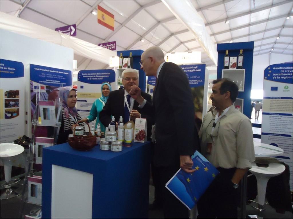 Messieurs le Directeur général et l'Ambassadeur de la délégation de l'UE en entretien avec la présidente de l'AFDF dans le stand de l'association au SIAM.